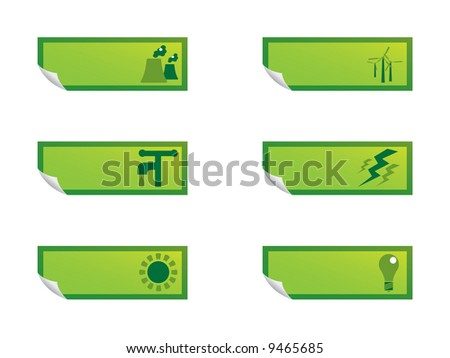 Power and energy stickers - stock vector