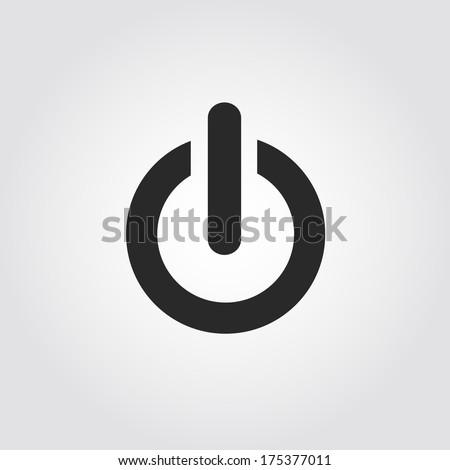 Power button icon, flat design - stock vector