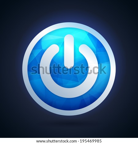 Power button icon with abstract triangle pattern - stock vector