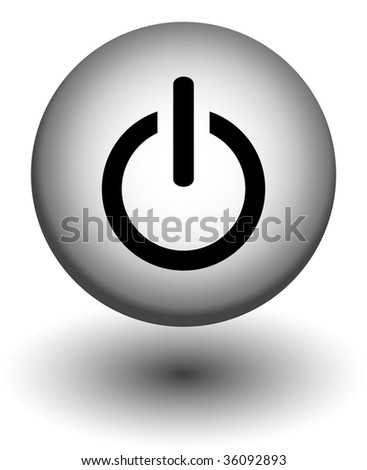 power button icons,white and black, vector - stock vector