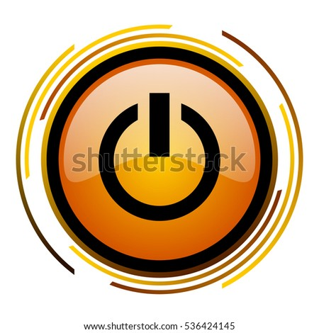 Power button orange glossy vector icon.