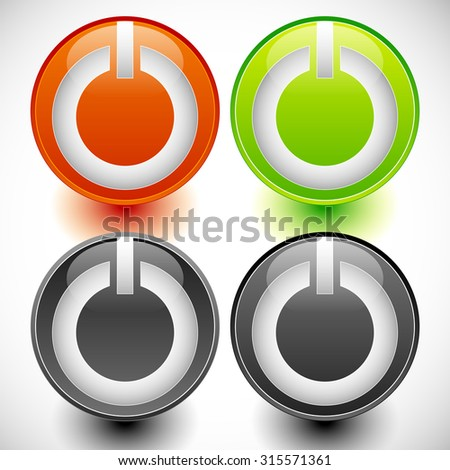 Power buttons vector. Power switches, turn on, turn off, shut down, ignite buttons. - stock vector
