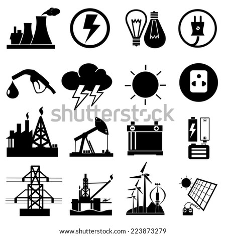 power,Energy, electricity collection ,icons vector - stock vector