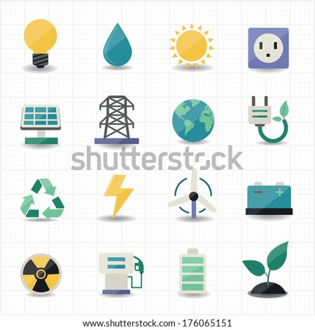 Power energy icons white background - stock vector