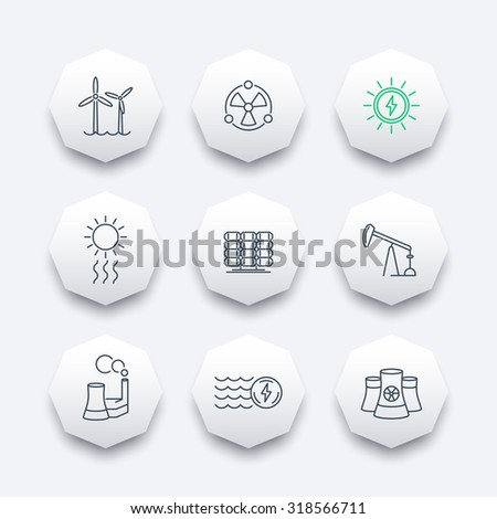 Power, energy production, energetics, solar, nuclear energy, linear octagon icons, vector illustration - stock vector