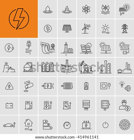 Power Energy Sources Electricity Vector Icons Set  - stock vector