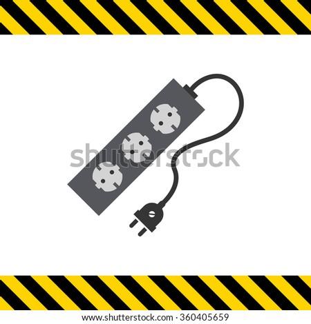 Power extension cord - stock vector