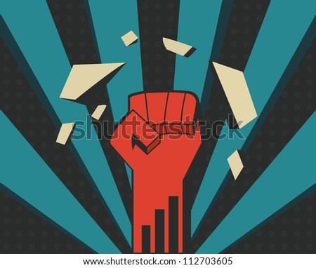 power fist - stock vector