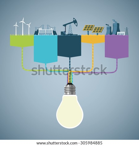 Power generation. Information design with different types of power plants. Info-graphics template. - stock vector