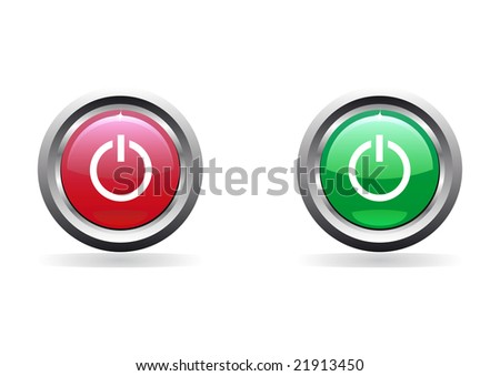 Power glossy buttons - stock vector