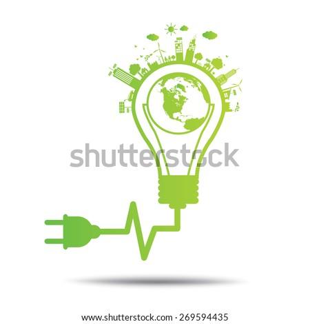 power green concept bulb ecology City environmentally friendly  . - stock vector