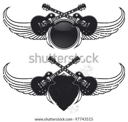 power guitar shield with wings - stock vector