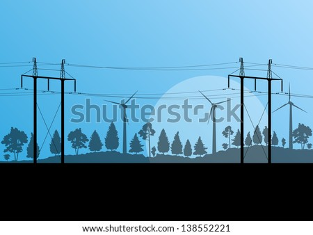 Power high voltage electricity tower line and wind generators in countryside forest nature landscape illustration background vector - stock vector