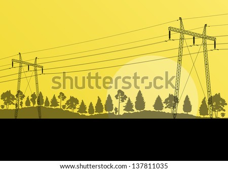 Power high voltage tower vector background landscape - stock vector
