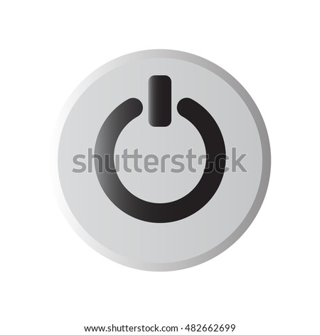 Power icon metallic isolated on white background,vector illustration