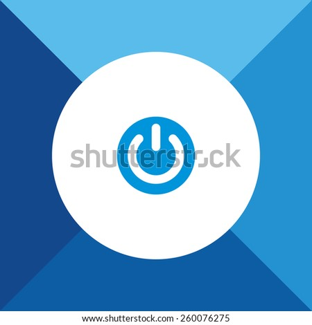 Power Icon on Blue Background. Eps-10. - stock vector