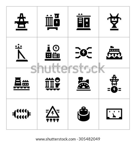 Power industry icon set isolated on white. Vector illustration - stock vector