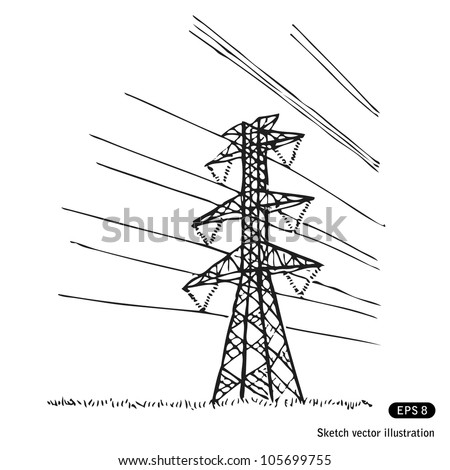 Power lines. Hand drawn sketch illustration isolated on white background - stock vector