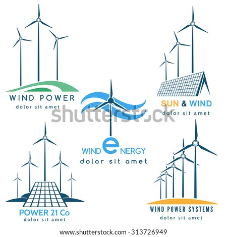 Power making company logo or emblem set. Solar and wind energy generators and turbines. Free font used. Isolated on white background. - stock vector