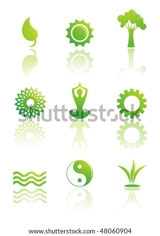 Power of nature. Green icon set - stock vector