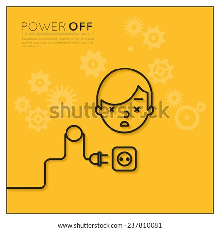 Power off. Disconnected man. Business and electronic, electric connection,  human supply. Vector illustration - stock vector