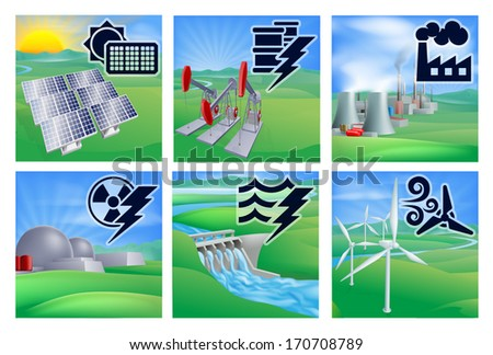 Power or energy generation with icons. Photovoltaic cells solar renewable, oil well pumpjacks, fossil fuel power plant, nuclear,  hydroelectric water dam sustainable and wind turbine wind farm - stock vector
