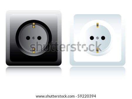 Power outlet. Black and white - stock vector