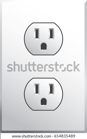 Power Outlet In Style Used The USA Vector Format