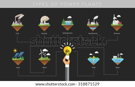 Power plant icon vector symbol set on black - stock vector