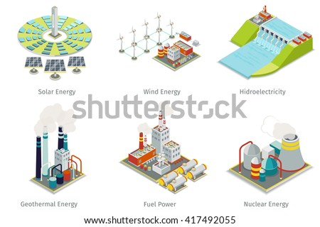 Power plant icons. Electricity generation sources. Hydroelectricity, geothermal, solar and wind energy. Vector illustration - stock vector