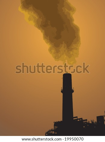 power plant leaking gases from its vent can be resized. - stock vector