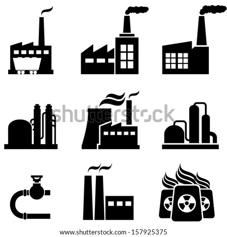 Power plants, nuclear plants, factories and industrial buildings - stock vector