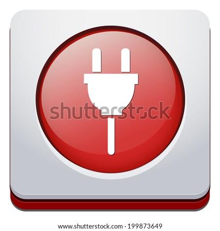 Power plug button - stock vector