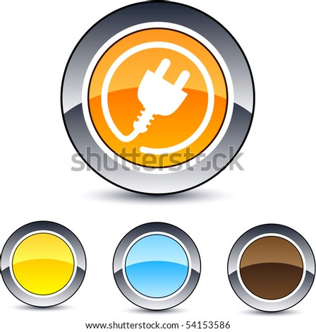 Power plug glossy round web buttons. - stock vector