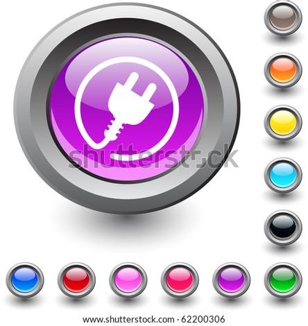 Power plug metallic vibrant round icon. - stock vector