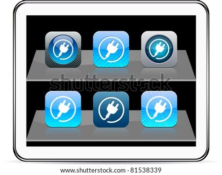 Power plug Set of apps icons. Vector illustration doesn't contain transparency and other effects. EPS8 Only. - stock vector