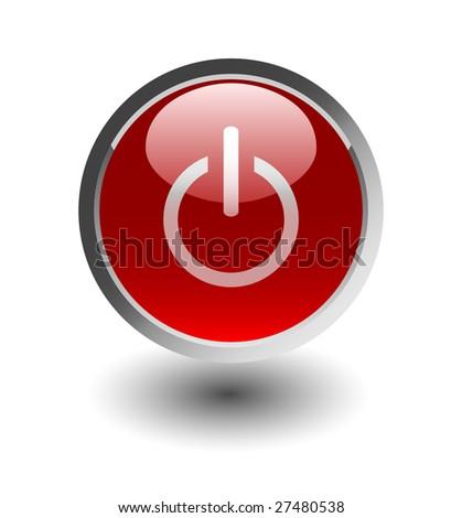 power red button, icons, vector - stock vector