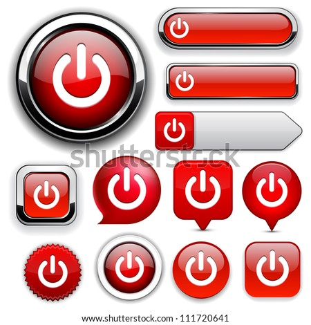 Power red design elements for website or app. Vector eps10. - stock vector