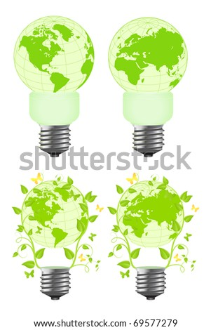 Power saving bulbs - a planet. Vector illustration, isolated on a white.