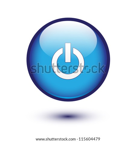 Power sign on blue glossy button - stock vector
