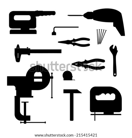 Power tools. Black silhouette vector illustration. - stock vector