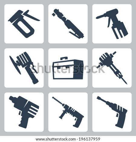 Power tools vector icons set - stock vector