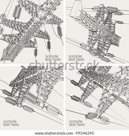 Power Transmission Line, vector illustration - stock vector