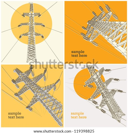 Power Transmission Line, vector illustration, set - stock vector