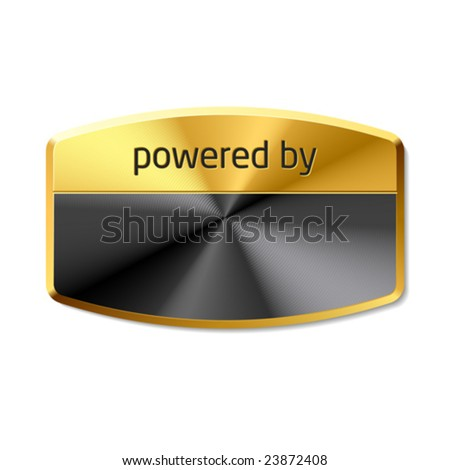 Powered by... Vector emblem. - stock vector