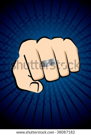 powerful fist with a ring in blue background