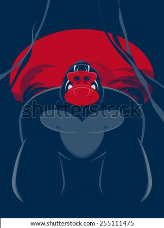 powerful gorilla vector illustration - stock vector