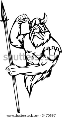 Powerful viking. Vector Image. Ready for vinyl cutting. - stock vector