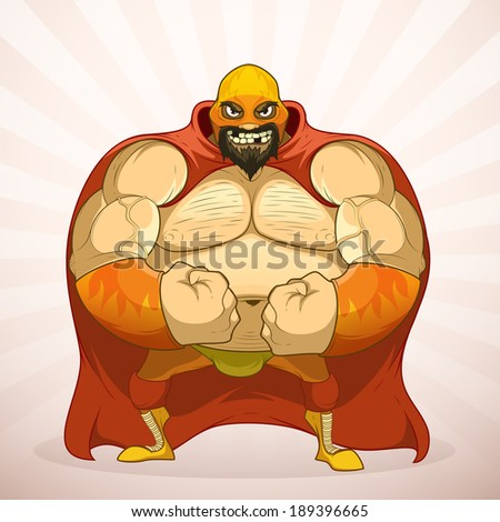 Powerful wrestler with a beard and in the mask - stock vector