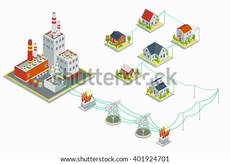 Powerhouse and electric energy distribution infographic. 3D isometric concept. Electricity industrial, industry power station, voltage electrical. Vector illustration - stock vector